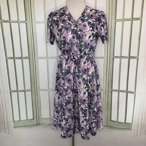 Anthony Richards Dress Size Medium Floral Purple